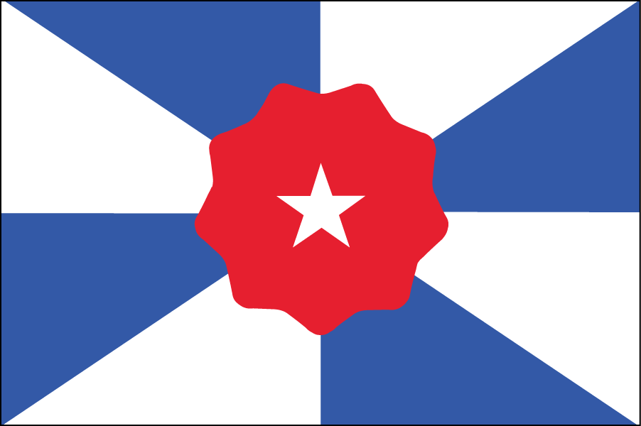 "ALABAMA: The symbol of Dixie in the middle is surrounded by eight triangles representing the eight Native American tribes who used to live there. The triangles also form a subtle ""X"" shape, referencing the existing Alabama flag."