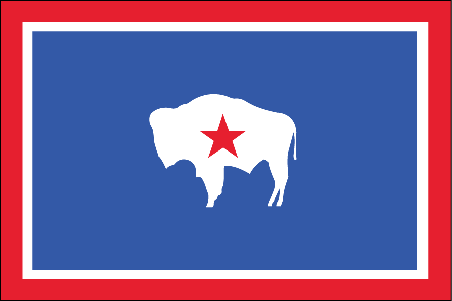 WYOMING: For this flag I didn't need to change much. I just replaced the state seal with a star representing the state itself. The red represents the Native Americans who once lived there, and the white is purity and uprightness (same as the Texas flag).
