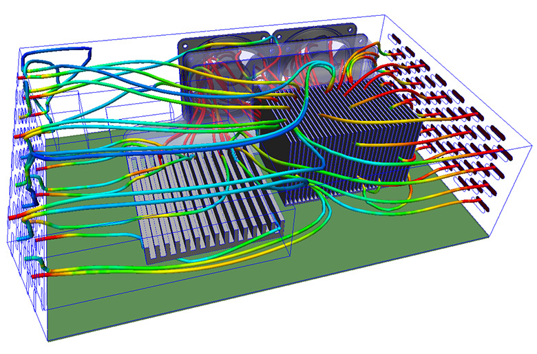 Computational fluid dynamics (CFD) analysis at work in a consumer electronics device.