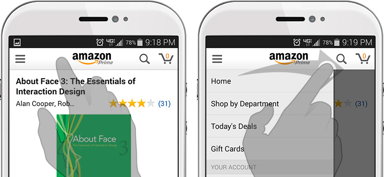 Swiping left to right on the Amazon app reveals its sliding drawer navigation.