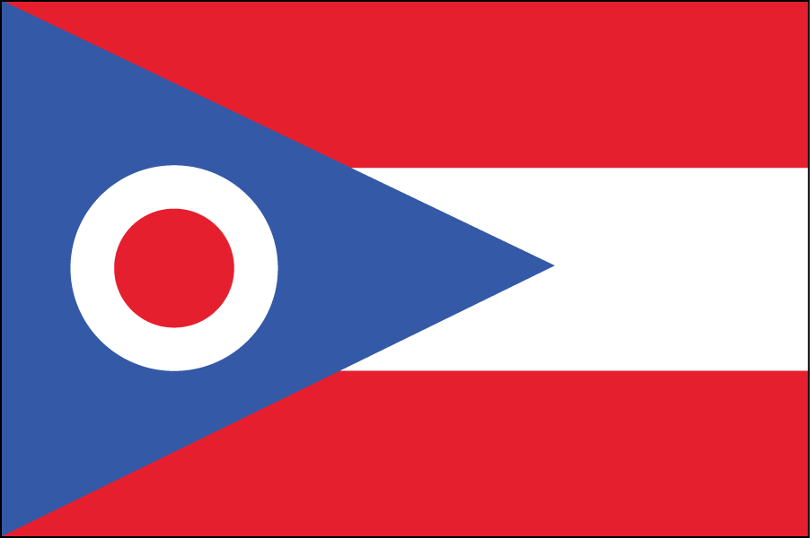"OHIO: The sideways triangle represents hills and valleys, and the ""O"" is the buckeye and also ""O"" for Ohio. I reduced the number of stripes to three because I kept coming across threes in Ohio's history (ex. admitted to the union in 1803)."