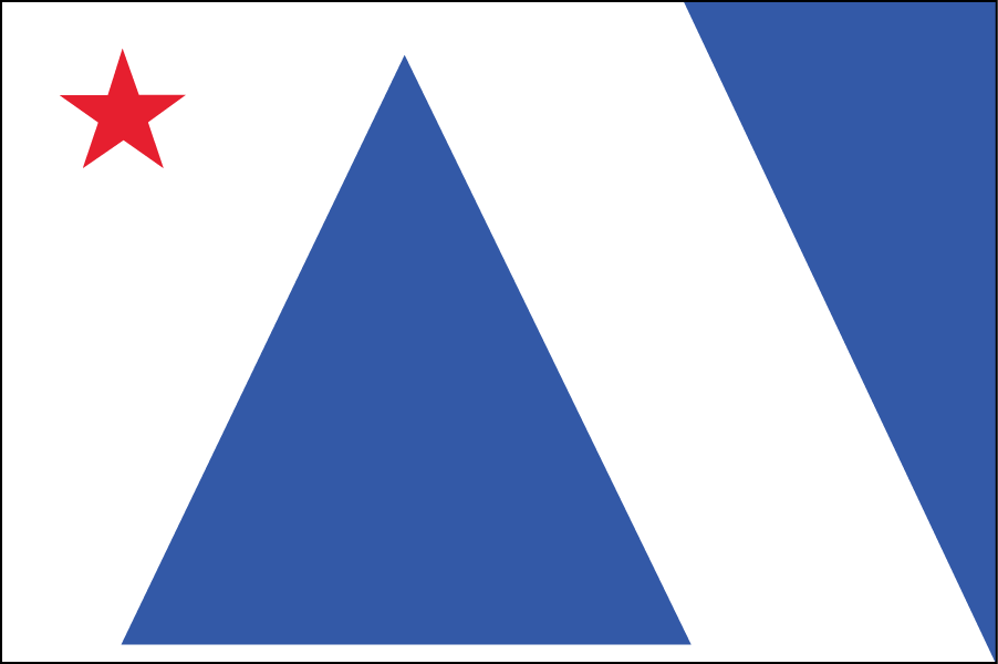 MAINE: The blue triangle in the center is a big pine tree, and the upside-down triangle alongside the white diagonal on the right represent the ocean and coastline.