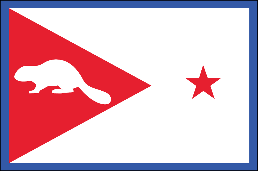 OREGON: The red triangle on the left represents the hills of Oregon. The state animal is a beaver.