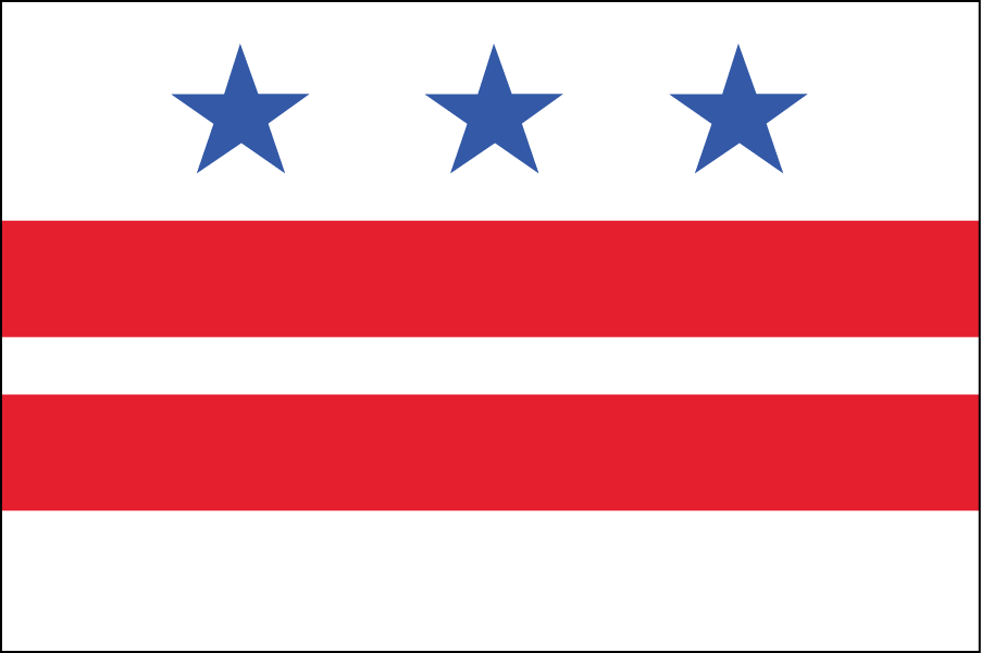 WASHINGTON, D.C.: I kept the D.C. flag the same but changed the colors. The design is based on George Washington's coat of arms.