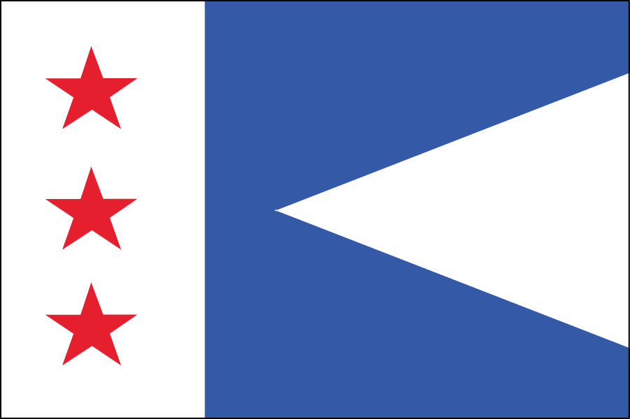 LOUISIANA: In 2006 Louisiana's state legislature passed a bill requiring any depiction of the mother pelican in the state's flag or seal be accompanied by a depiction of the three drops of blood with which she feeds her young. In my design the white bar on the left represents the mother pelican. The three stars are three drops of blood. The white triangle on the right is the young pelican's beak.