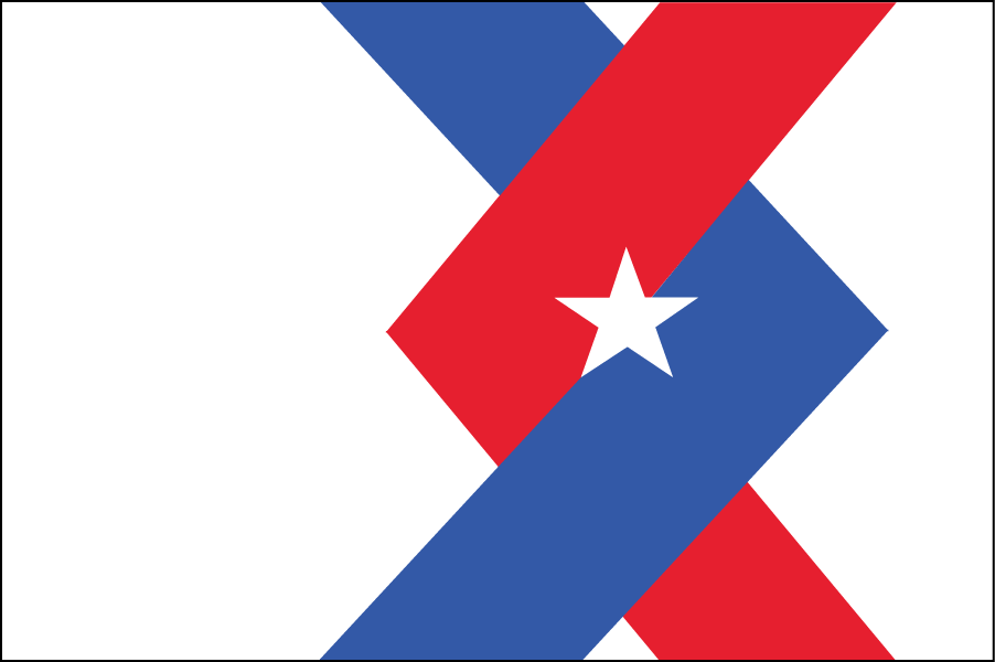 "KENTUCKY: The intertwined arrows represent the joining of the frontiersman (red) and the statesman (blue) who are shaking hands on the existing state steal. That image (illustrating the motto, ""United We Stand, Divided We Fall"") also appears on the flag. The angled lines suggest a ""K."""