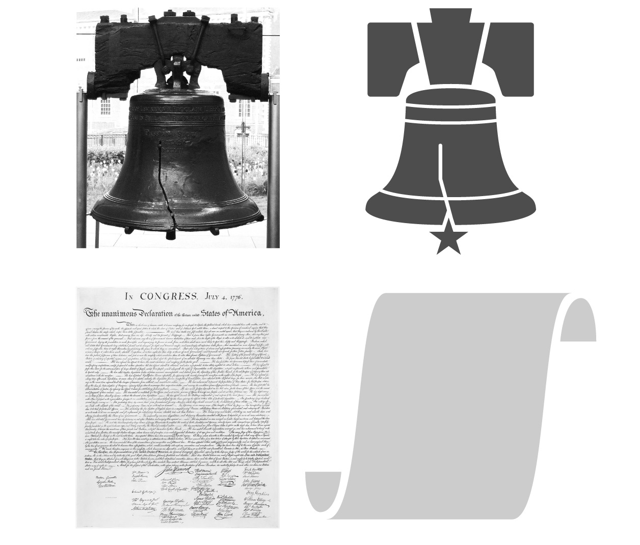 The Liberty Bell and the Declaration of Independence.