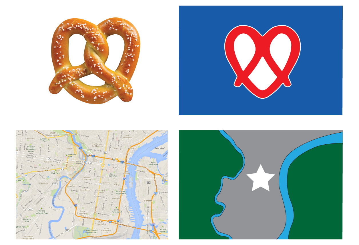 A brotherly love pretzel in Phillies red and white, and a city stuck between two rivers.