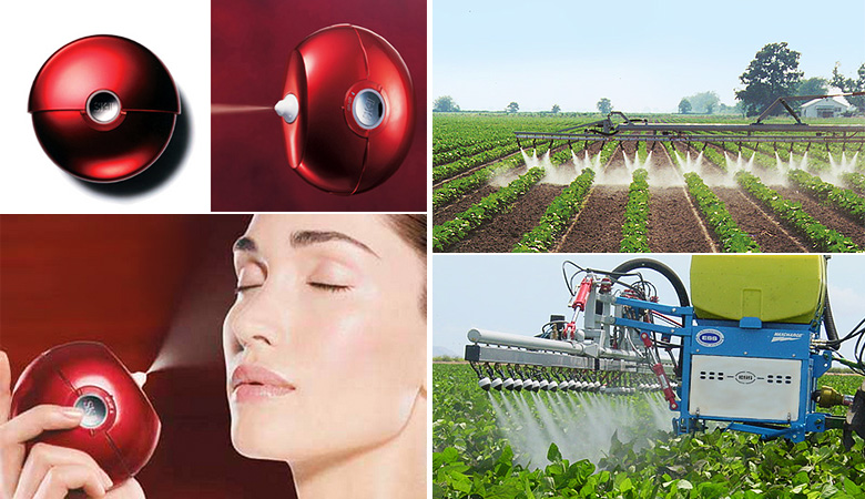 SK-II Air Touch, and Electrostatic Spraying Systems's MaxCharge agricultural sprayer.