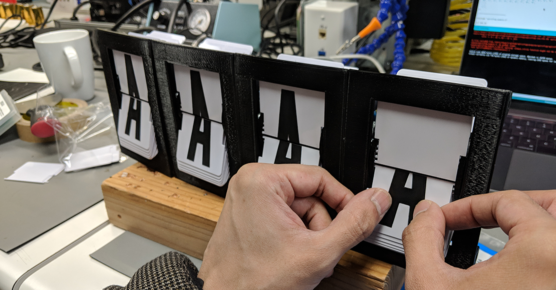 We wanted to prove to ourselves that we could make our own split-flap display.