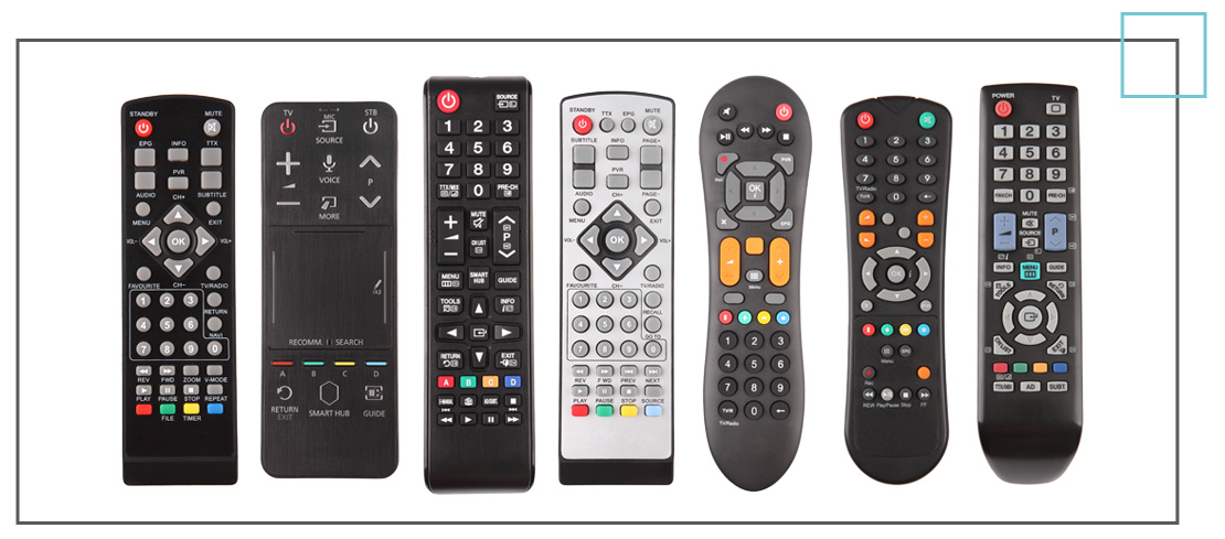 The patterns on TV remotes help to simplify the choices for users.